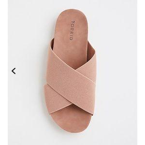 Mauve Stretch Slide Wide Width Sandals